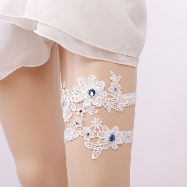 2Pcs/set White Flowers Bride Garter Lace Women's Sexy