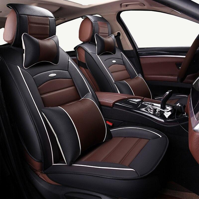 (voor + Achter) Cartoon Lederen Auto Seat Cover Voor Lada 110 111 112 Kalina Niva Vesta Xray Granta Auto-accessoires Auto Styling Exquisite Traditional Embroidery Art