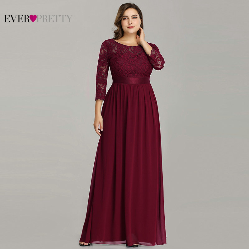 Plus Size Mother Of The Bride Dress Ever Pretty EP07412 Elegant A-Line Chiffon 3/4 Sleeve Lace Long Wedding Party Dresses(China)