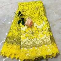 French Lace Fabric With Beads yellow African Lace Fabric High Quality 2018 Net Lace Nigerian Material Wedding Dress