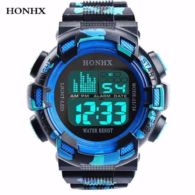 HONHX Mens Watch LED Digital Date Waterproof Sports Army Males Quartz Watch Outd