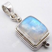 Múltiple opciones chanti plata pura internacional Arco Iris Moonstone GEM Factory direct colgante 2.8 cm personalizada