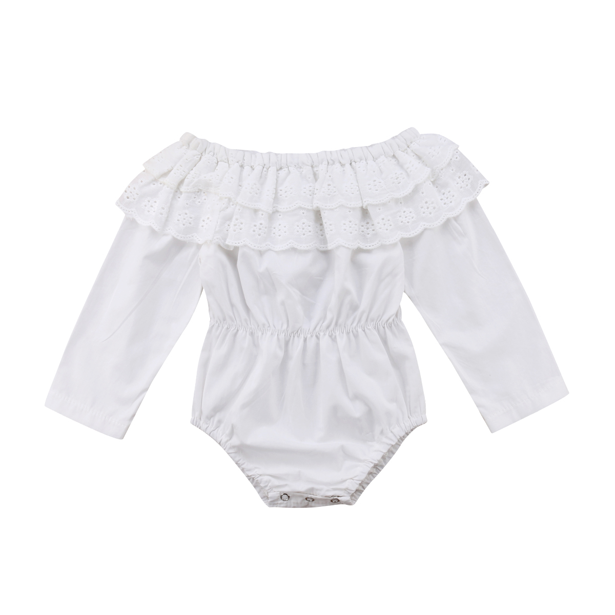 Newborn Baby Kids Girls Bodysuit Fashion New Long Sleeve Off Shoulder Cotton Solid White Cute Lace Bodysuits Clothes off shoulder flounce long sleeve gitter top black silver