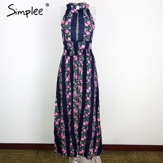 Simplee Apparel new sexy sleeveless floral print long dress Hollow out backless summer dresses High waist maxi dress vestidos