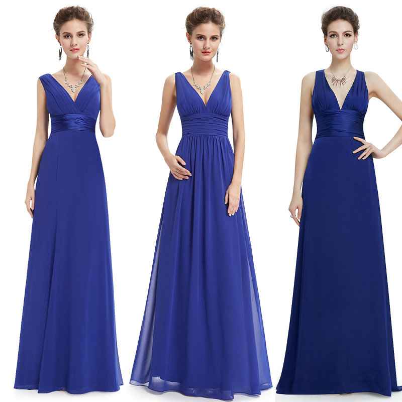 Ever Pretty New Women Wedding Bridesmaid Dresses V-Neck Chiffon Backless Royal Blue Long Dress For Wedding Guest Party Gowns