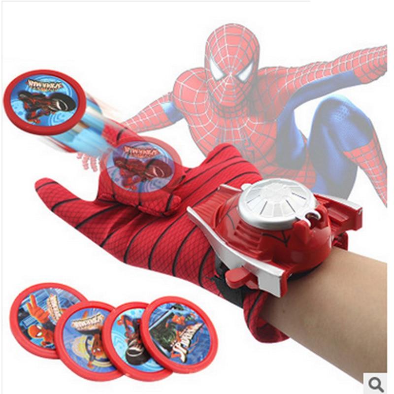 <font><b>2</b></font> Types PVC 24cm Batman <font><b>Glove</b></font> Action Figure <font><b>Spiderman</b></font> Launcher Toy Kids Suitable Spider Man Cosplay Costume Come With Retail Box