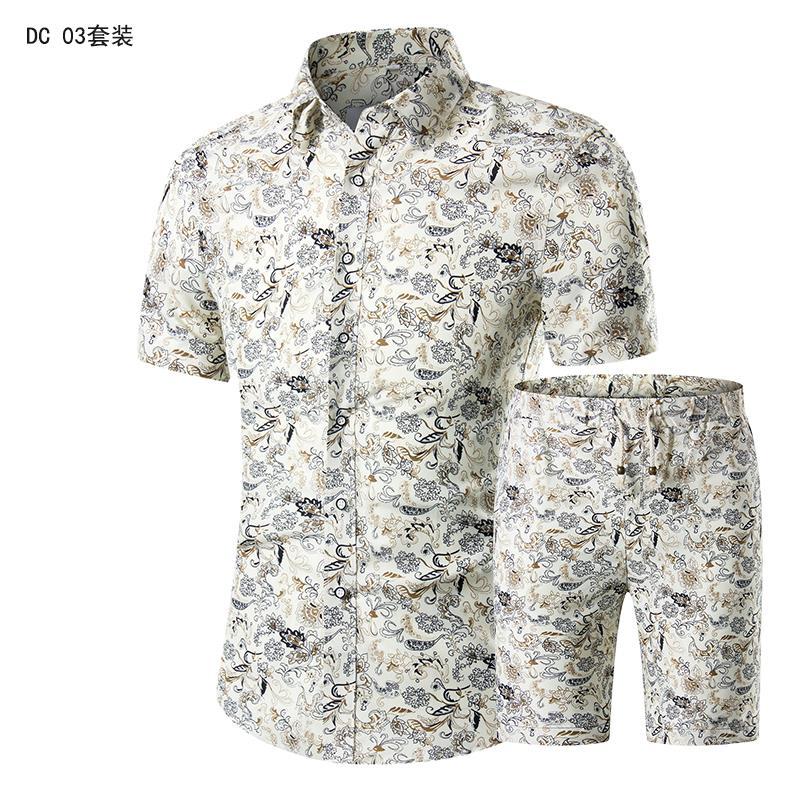 2020 Summer Fashion Floral Print Shirts Men+Shorts Set Men Short Sleeve Shirts Casual Men Clothing Sets Tracksuit Plus Size 5XL
