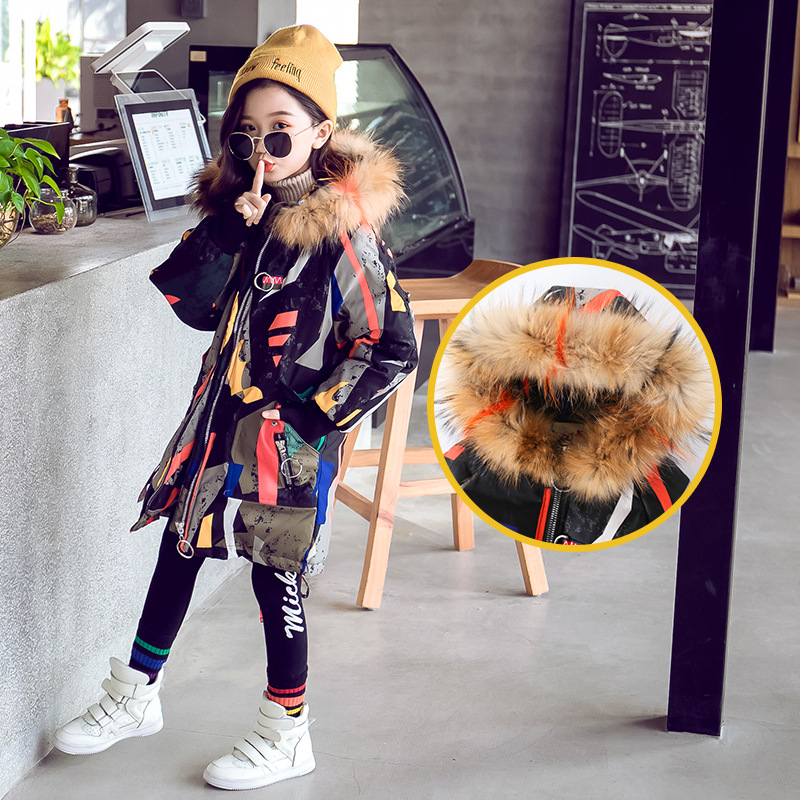 Image 5 - Girls Cotton padded Winter Jackets Children Warm Big Fur Hooded Outerwear Coats Children's Fashion Long Thick Jacket Coat-in Down & Parkas from Mother & Kids