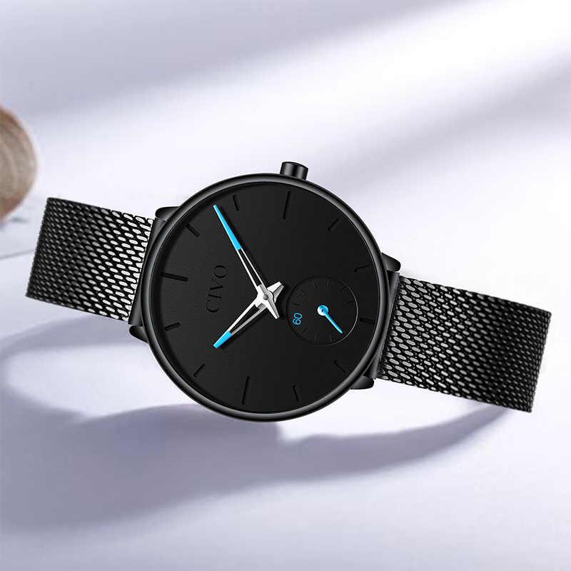 CIVO Роскошные повседневные водонепроницаемые часы для женщин на плетеном ремешке из нержавеющей стали с покрытием розовым золотом. Бренд Relogio Feminino