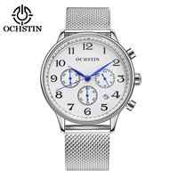 2017 OCHSTIN Men's Wrist Watch Chronograph Luxury Rose Gold Mesh Stainless Steel Wristwatch Military Slim Quartz Watch relogio