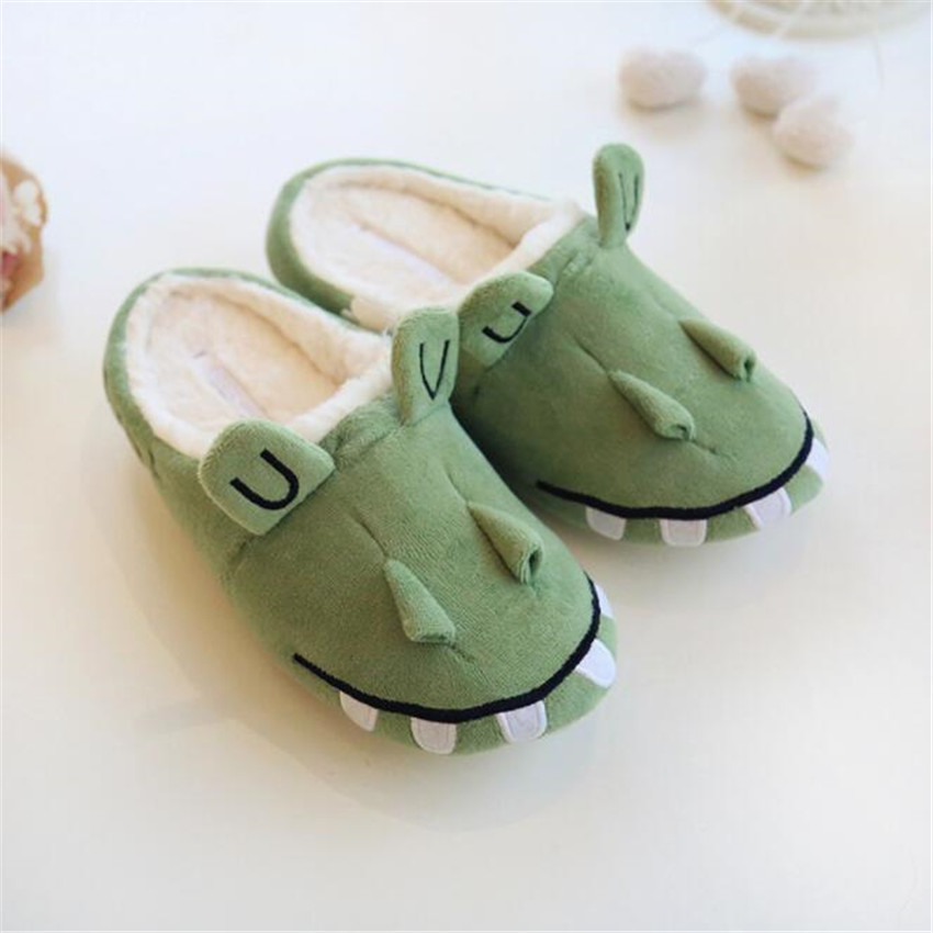 Animal World Lovely Crocodile Alligator Cosplay Shoes Keep Warm Cotton Woman Lovers Slipper Winter Indoor Soft Soled