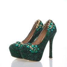 Handmade Glitter Green Rhinestone Shoes Platform Customize Bridal Shoes  Annversary Ceremony Party Pump Mother of Bride 44abbf1573b3