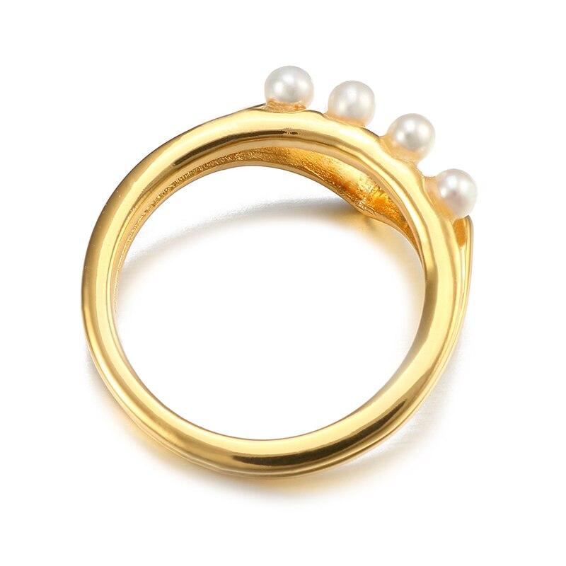 VANAXIN 925 bagues en argent Sterling pour femmes perles naturelles AAA zircon cubique bijoux de mode femmes 3M couleur or cadeau de mariage - 3