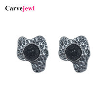 Carvejewl vintage stud earrings glitter stone irregular big for women jewelry unique classical anti gold earings