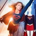 CGCOS Expreso! Anime Cosplay Traje Adulto Supergirl Vestido Con Falda de Capa Película Por Encargo Juego Cos Uniforme de Navidad