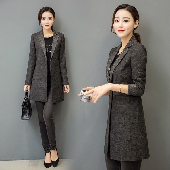 Korean Fashion Trench Women Medium Long Slim Fit Blazers and Jackets Ladies Gray Long Coat Blazer Feminino