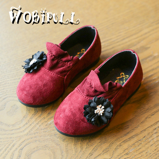 WOBIPUL 2017 new spring girl flowers princess shoes comfortable casual shoes single shoes baby girls fashion floral suede shoes