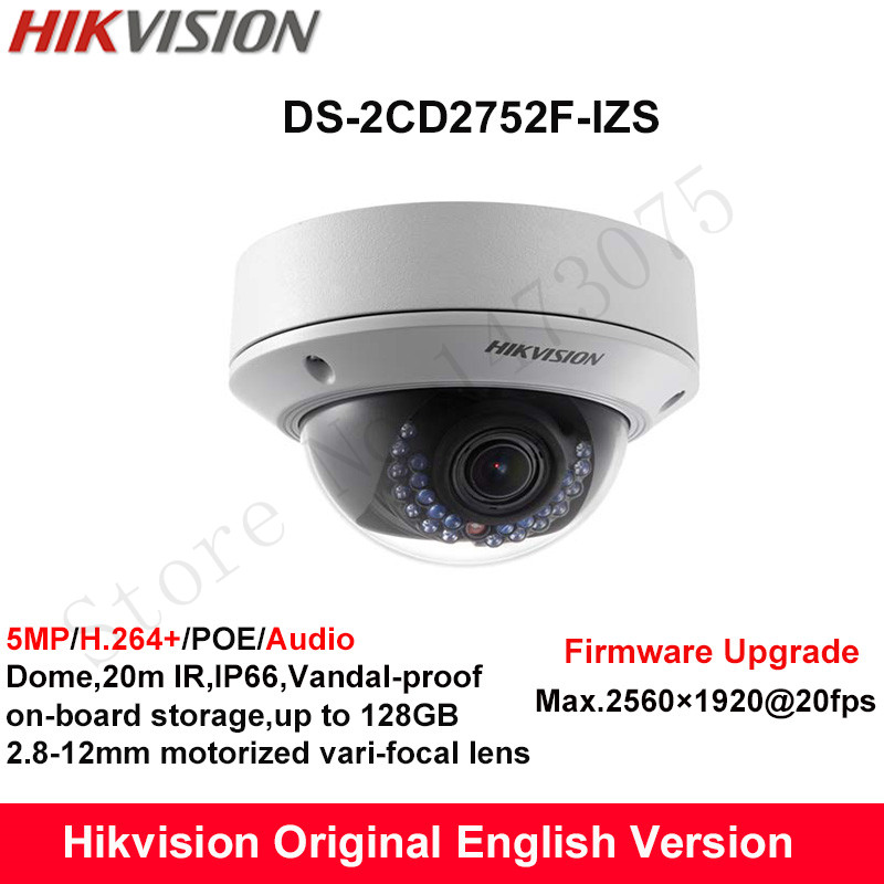 In Stock Hikvision English Security Camera DS-2CD2752F-IZS 5MP dome IP Camera POE IP66 with motorized vari-focal lens 2.8-12mm hikvision ds 2de7230iw ae english version 2mp 1080p ip camera ptz camera 4 3mm 129mm 30x zoom support ezviz ip66 outdoor poe
