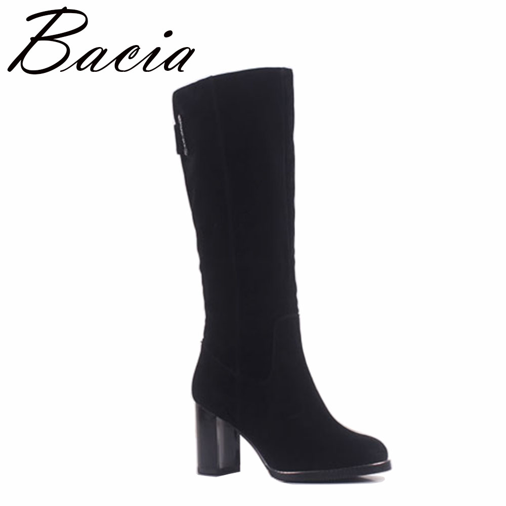 Bacia Sheep Suede High Boots Fashion Round Toe 8.5cm Thick Heel Women Boots Genuine Leather Wool Fur & Short Plush Shoes MA008 цена 2017