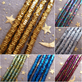 2017 NEW! 2mm 3mm 4mm 380pcs/lot Gold silver blue green rainbow Hematite Stone Hexagon Loose Beads For Jewelry Making