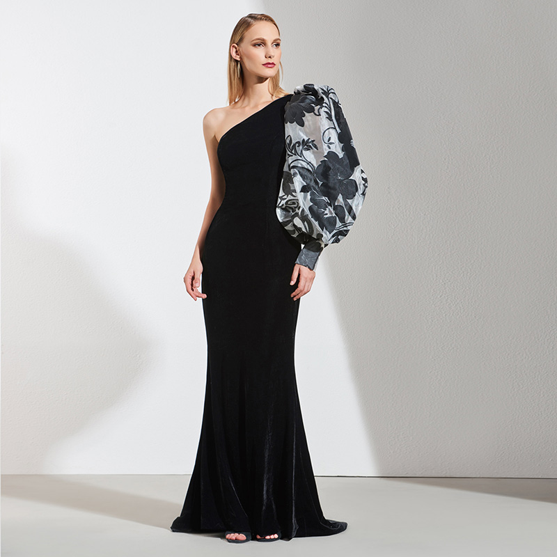 Tanpell one shoulder evening dress black printed sleeveless floor length sheath gown women custom empire formal evening dresses