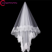 Wedding Veil New 2017 wholesale 100% Real Photos lace edge long Cathedral veil/accessories/ veil/head Vail Bridal Veils(China)