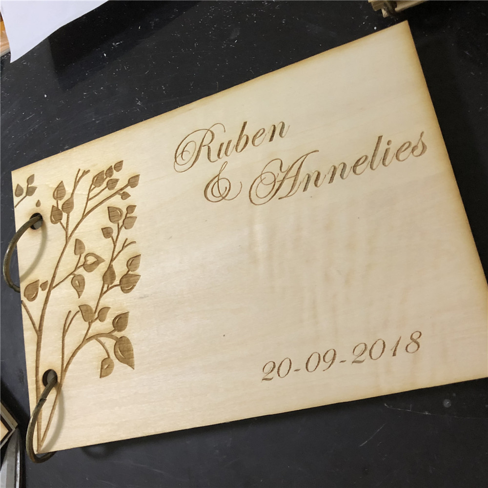 Wedding Photo Guestbook: Wedding Guest Book, Personalized Guest Book, Wooden Guest