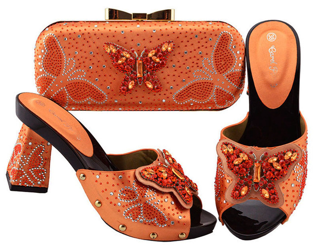 Latest Orange Color Shoe and Bag Italian Design Set Decorated with Rhinestone African Wedding Shoe and Bag Nigerian Women JZS-05