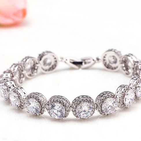 Gold Plated White Zircon Trendy Bezel Setting Link Chain Bracelets Round Metal Different Types New Gift