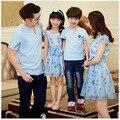 Mamá e hija de tela de gasa helado vestidos de la familia a juego trajes de verano padre hijo de la camiseta habilitada paño vacaciones