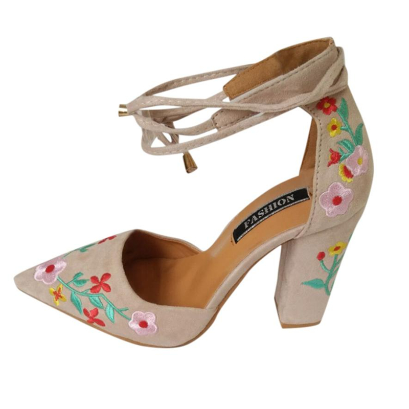 High Heels Woman Of 2018 Latest Models  Women Wildflower Embroidery With Crude High-Heeled Pointed Toe Shoes Shoes WomanA0531#30