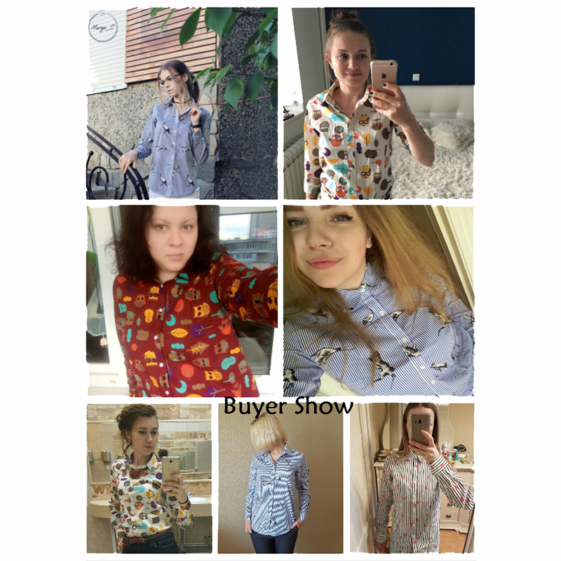 Dioufond 2018 Hayvan Baskı Gömlek Kadın Pamuk Bluzlar Çiçek - Bayan Giyimi - Fotoğraf 5