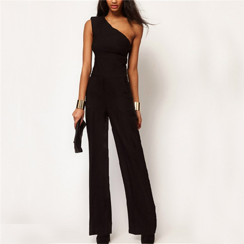 New 2018 Summer One Shoulder Sexy Women Rompers Jumpsuit Ladies Elegant Sleeveless Long Playsuit Casual Loose Overalls