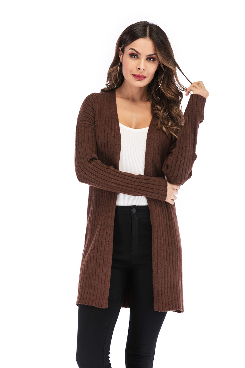 Fall Winter Cute Knitted Middle Long Ribbed Cardigan Dress for Women Kawaii Ladies Knit Drop Shoulder Sweater Coat Oversized S-L 22