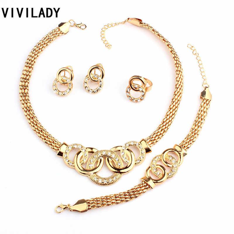 Viviladyクラシックラインストーンジュエリーセット女性ファッションアフリカラウンドゴールドカラーネックレスブレスレットイヤリングリングアクセサリーギフト