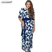 2017 5XL 6XL Buttefly Print Maxi Dress Casual Plus Size New Autumn dresses Half Sleeve loose Women Clothing vestidos with Sashes