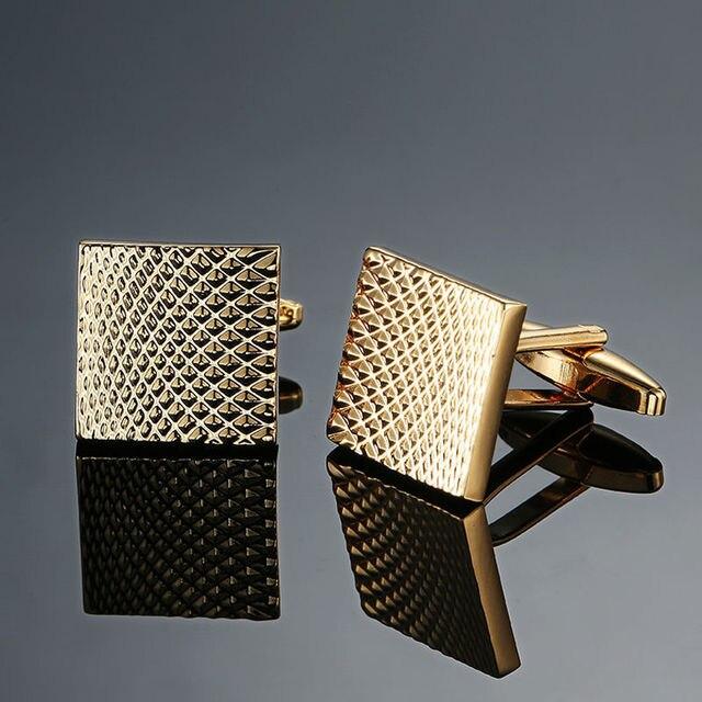 Copper quality enamel square stripes gold silver black flower cufflinks Top brand 3
