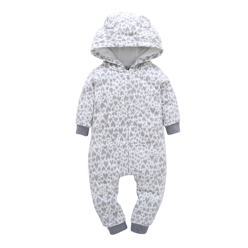 2018 newborn Baby Boy Girl Hooded   Rompers   Fleece Long Sleeve with Zipper One-pieces Clothes COTTON kids Overalls for 0-24m