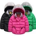 Revestimento do revestimento Da Menina do inverno das Crianças 2016 Moda Sólidos Com Capuz grosso Quente para baixo Casaco rosa Vermelho Preto Verde Rosa Vermelha Para 5-12 anos