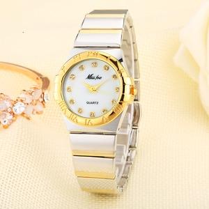 Image 2 - MISSFOX ساعات أنيقة النساء الماس الأرقام الرومانية اللؤلؤ قذيفة الكلاسيكية السيدات ساعة ذهبية مقاوم للماء الإناث كوارتز ساعة اليد