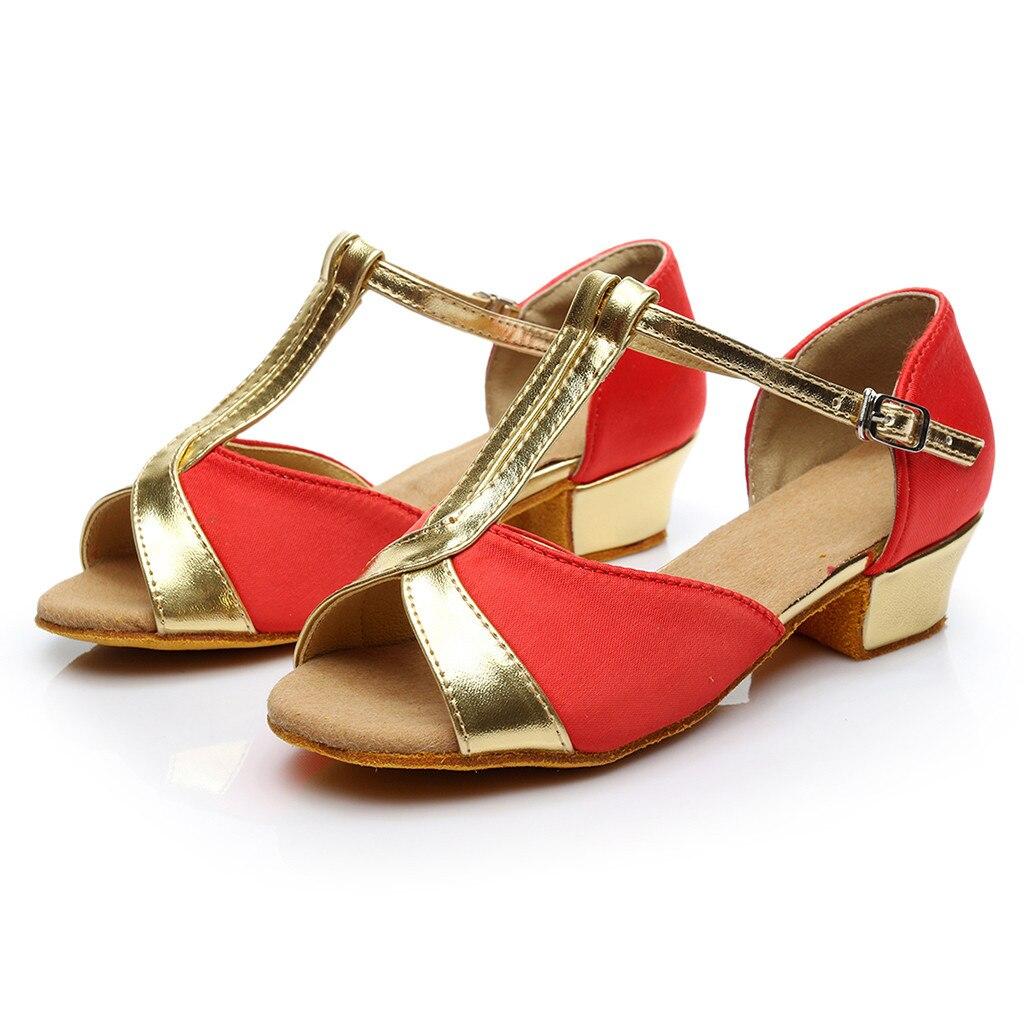 MUQGEW Wedges Sandals Shoes Square Heel Women Med Salsa Latin Rumba Prom-Ballroom Waltz