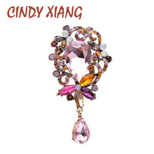 CINDY XIANG Water-drop Style Crystal Flower Brooches For Women Large Elegant Coat Brooch Pin Wedding Accessories Party Jewelry cindy xiang purple color crystal flower large brooches for women autumn coat brooch pin elegant beautiful fashion jewelry new