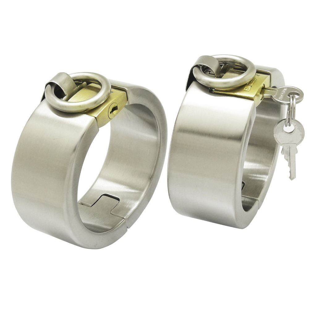 Brushed stainless steel wrist ankle cuffs with padlock bondage restraint set adult game sex handcuffs