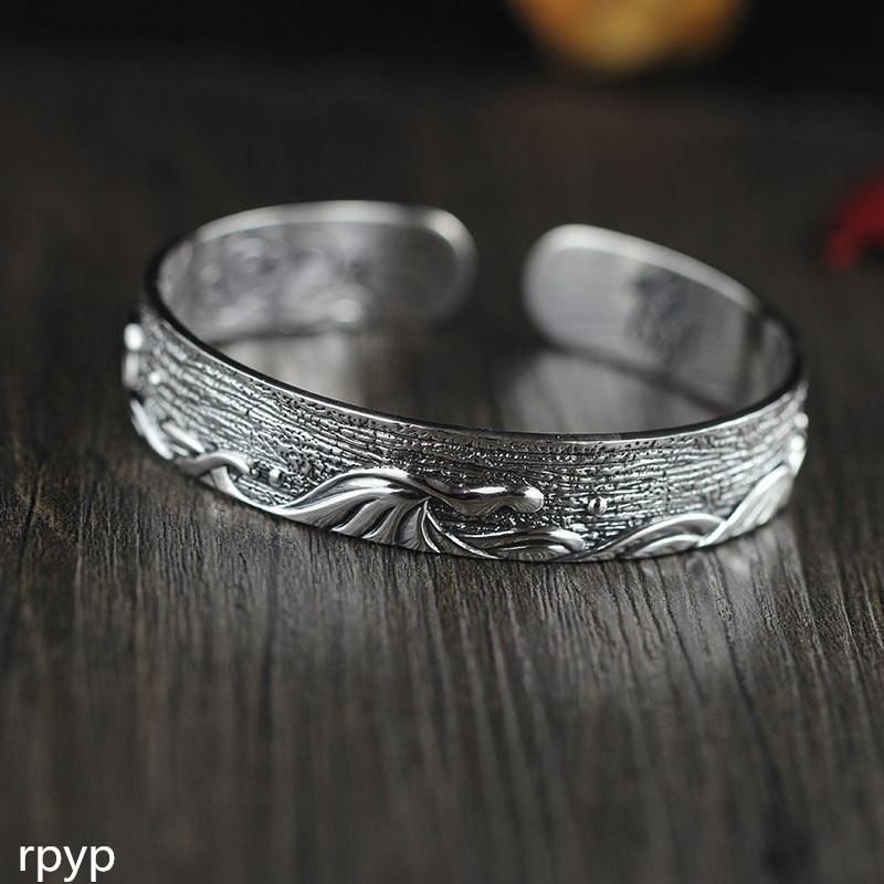 KJJEAXCMY 999 gioielli in argento puro braccialetto handmade puro Thai argento della signora giura di Braccialetto apertoKJJEAXCMY 999 gioielli in argento puro braccialetto handmade puro Thai argento della signora giura di Braccialetto aperto