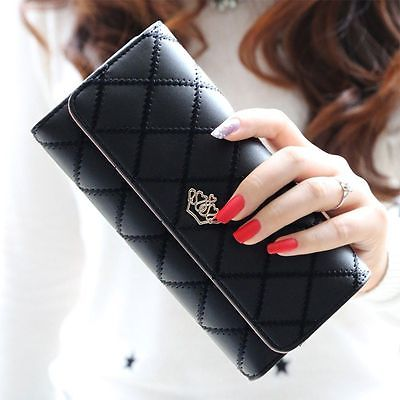 Fashion Women Leather Long Wallet Cute Lady Thread Purse Girl PU Leather Clutch Bag Card Holder 2017 new women wallets cute cartoon bear lady purse pu leather clutch wallet card holder fashion handbags drop shipping j442