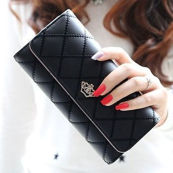 Fashion Women Leather Long Wallet Cute Lady Thread Purse Girl PU Leather Clutch Bag Card Holder Clutches