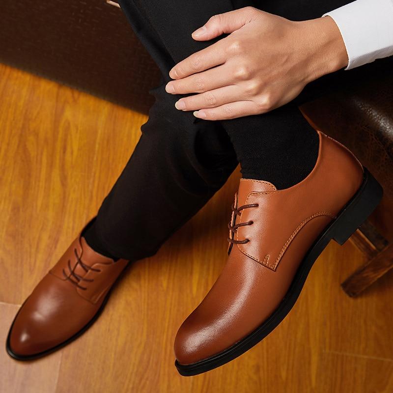 Homens Navio Gota Shoes brown De Misalwa Pontas Oxford Do Shoes Escritório Da Pé 38 48 Dos Sapatos Casamento Size Uniforme Couro Black Dedo Derby Casuais Vestido Plus xxqpSR8