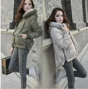 2017 new Fashion Military Jacket With Hood Women Short Style Coat Duck Down Puff Parka Plus Size Army Green Black WS2084