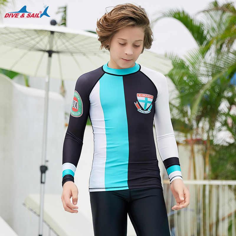 الشباب الاطفال طفح الحرس العلوي UPF50 + UV الشمس حماية طويلة الأكمام قمصان السباحة جلود تي شيرت ضغط طبقة قاعدة بذلة ليكرا تصفح