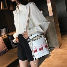 TOYOOSKY Women Lace Flamingos Printing Drawstring Bucket Bags Pink PU Leather Shoulder Bags Shoulder Bags Luxury Brand Sac